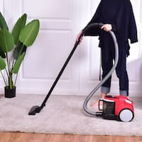 Costway Vacuum Cleaner Canister Bagless Cord Rewind Carpet Hard Floor w Washable Filter - Red