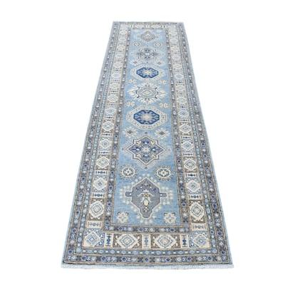 """Shahbanu Rugs Blue Pure Wool Afghan Vintage Look Kazak Hand Knotted Runner Oriental Rug (2'7"""" x 9'3"""") - 2'7"""" x 9'3"""""""
