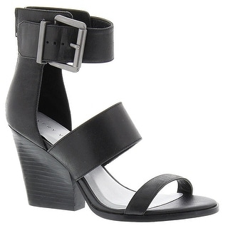 Very Volatile Womens Tiggy Leather Open Toe Casual Ankle Strap Black Size 70