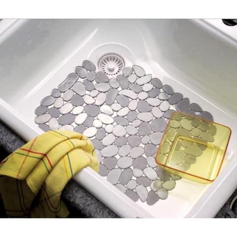InterDesign 60663 Pebblz Kitchen Sink Protector Mat, Graphite, Large