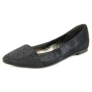 Material Girl Mastor Women Pointed Toe Canvas Black Flats