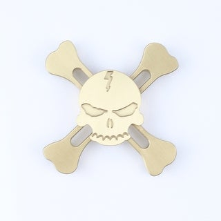 Hand Fidget Spinner - Metal Skull - Stress and Anxiety Reliever - GOLD