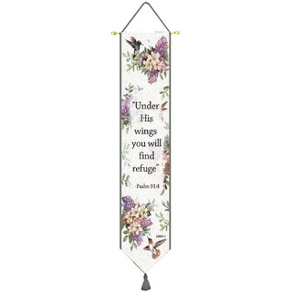"""Purple Lilac and Hummingbird Psalm 91:4 Whisper Wings Tapestry Bell Pull 9"""" x 41"""""""