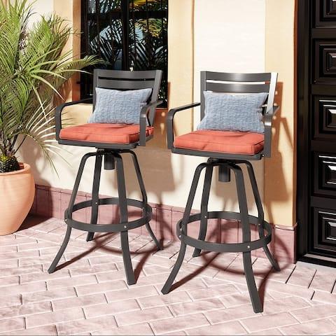Pellebant 2 PCS Patio Bar Stools with Sunbrella Seat Cushion