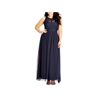 City Chic Womens Plus Formal Dress Chiffon Lace Overlay