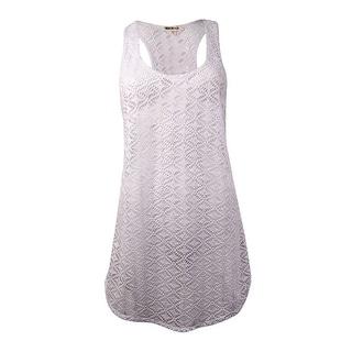 Miken Women's Crochet Lace Tank Swim Coverup (XS, White) - White - XS
