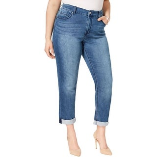 Melissa McCarthy Seven7 Womens Plus Girlfriend Jeans Cropped Destroyed