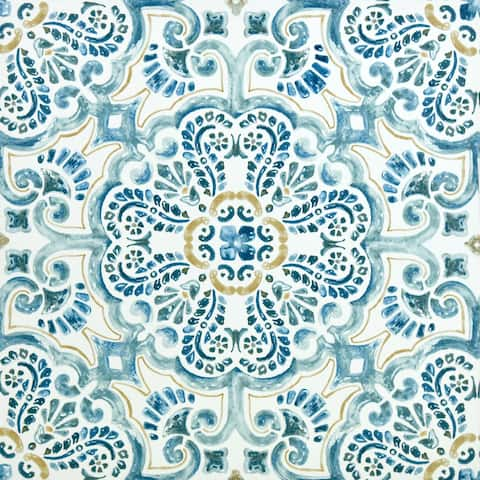 "Brewster FP2477 Fontaine 12"" x 12"" Square Floral Self-Adhesive Vinyl Peel and Stick Floor Tiles - Blue"
