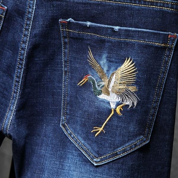 Fashion Men's Jeans Blue Denim Pants. Opens flyout.