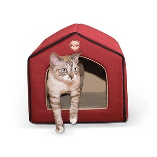 "K&H Pet Products Heated Indoor Pet House Red / Tan 16"" x 15"" x 14"""