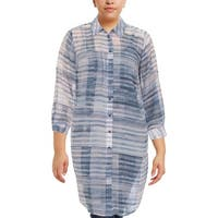 Two by Vince Camuto Womens Plus Tunic Top Sheer Printed