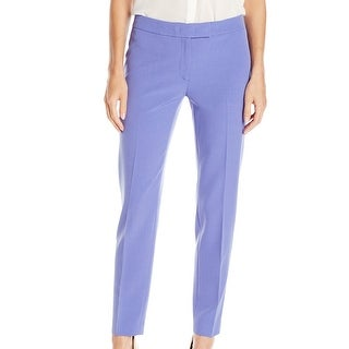 Anne Klein NEW Purple Chicory Women's Size 10 Solid Ankle Dress Pants