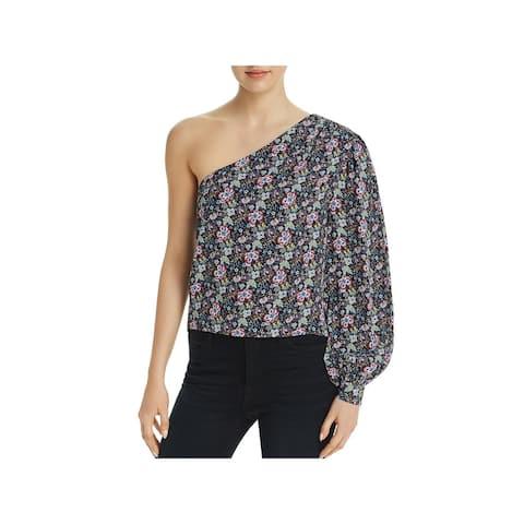 Frame Denim Womens Blouse Floral Print One Shoulder - S