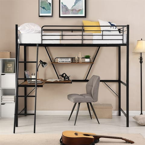 Merax Twin Metal Loft Bed with L-shaped Desk and Shelf