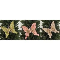 """Set of 12 of an Assortment of 3 Olive Green Rosy Pink and Taupe Jeweled Butterfly Clips 7.5""""H - Brown"""