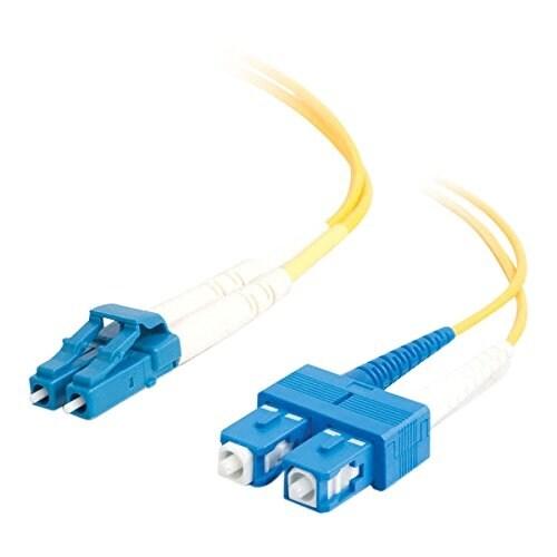 C2g 26260 2M Lc-Sc 9/125 Os1 Duplex Singlemode Pvc Fiber Optic Cable - Yellow