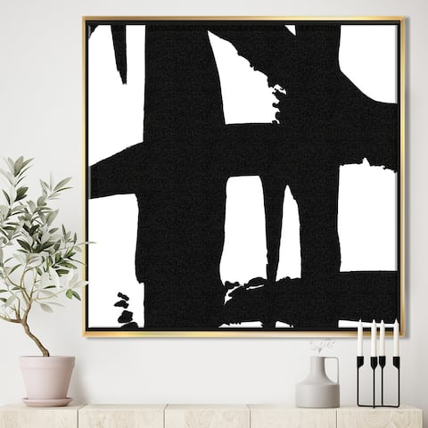 Designart 'Black & White Crossing Paths II' Modern & Contemporary Framed Canvas - Black