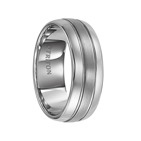 HARLEY Domed Tungsten Carbide Ring with Brush Finish Center and Dual Offset Grooves by Triton Rings - 8mm