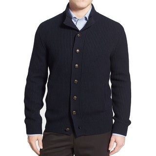 Toscano NEW Blue Mens Large L Ribbed Cardigan Wool Blends Sweater