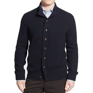 Toscano NEW Blue Mens Medium M Ribbed Cardigan Wool Blends Sweater