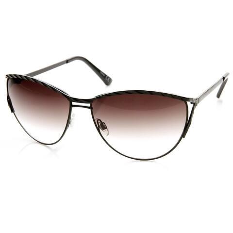 Womens Oversize Embellished Metal Cat Eye Sunglasses