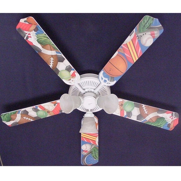 All Sports General Theme Print Blades 52in Ceiling Fan Light Kit - Multi