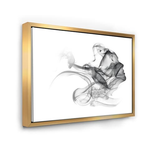 Designart 'Woman and Smoke Double Exposure' Portrait Framed Canvas Art Print