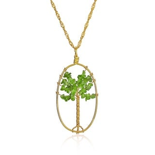 Tree of Life Wire Wrapped Prehnite Pendant Gold Plated Necklace 28 Inches - Green