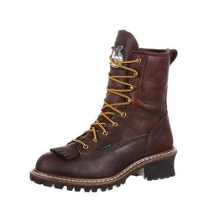 "Georgia Boot Work Mens 8"" Logger Steel Toe Waterproof Chocolate G7313"