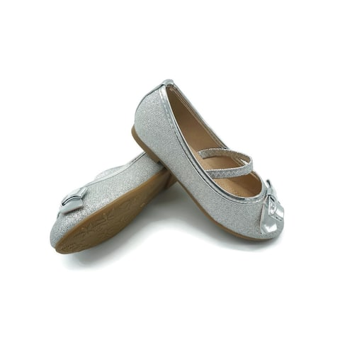 Pipiolo Little Girls Silver Glitter Elastic Strap Mary Jane Shoes