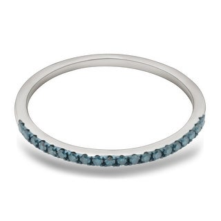 0.15 Carat Blue Color Real Diamond Half Eternity Anniversary Ring