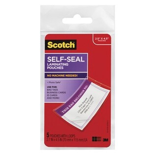 Scotch Self-Sealing Laminating Bag Tag Pouch with Loop, Ultra Clear, Pack of 5