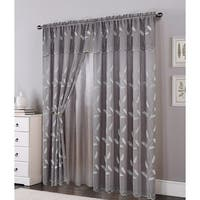 Ella Embroidered Panel with Attached Valance & Backing, Gray, 54x84+18 Inches