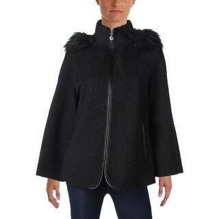 Betsey Johnson Womens Basic Coat Hooded Tweed
