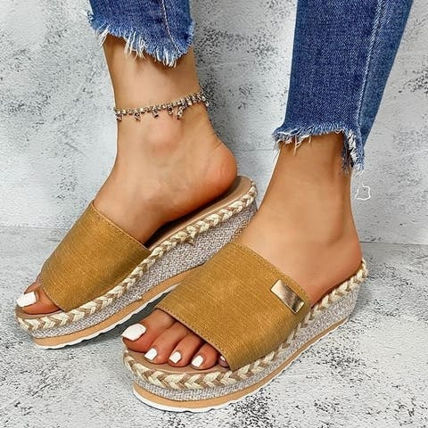 Casual Straw Woven Slope Heel Sandals And Slippers