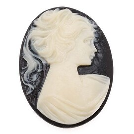 Vintage Style Lucite Oval Cameo Black With Lady's Profile 40x30mm (1)