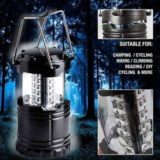 Ultra Bright LED Collapses Outdoor Folding Lantern for Camping Emergencies Water Resistant Black - SIZE