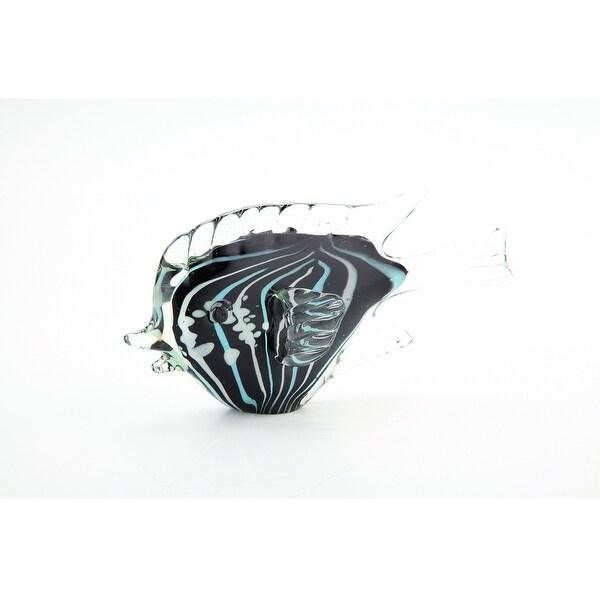 "10.5"" Black and Blue Hand Blown Glass Fish Figurine - N/A"