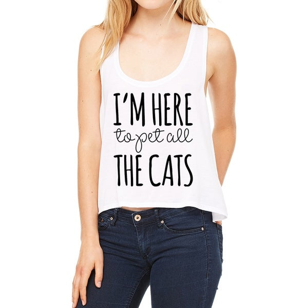7fc3b764 Shop I'm Here To Pet All The Cats Cool Quote Women's White Tank - Free  Shipping On Orders Over $45 - Overstock - 17634922