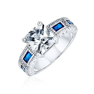 Link to 3CT Princess AAA CZ Blue Baguette Engagement Ring Silver Plated Brass Similar Items in Rings
