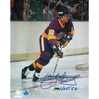 "Autographed Marcel Dionne Los Angeles Kings 8x10 Photo Inscribed ""HOF 92"""