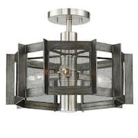 "Designers Fountain 89311 Baxter 3 Light 16"" Wide Semi-Flush Ceiling Fixture with Black Mesh Shade"