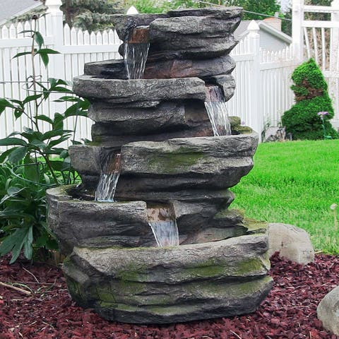 """Lighted Cobblestone Outdoor Water Fountain Water Feature w/ LED - 31"""""""