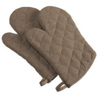 """Set of 2 Walnut Brown Colored Terrycloth Oven Mitts 13"""""""