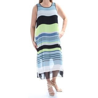 VINCE CAMUTO Womens Black Striped Sleeveless Scoop Neck Maxi Shift Dress Size: L