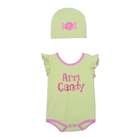 Sozo Baby Girls Pink Candy Print Cotton Flutter Sleeve Hat Bodysuit Set 3M