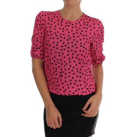 Pink Polka Dotted Silk Men's Blouse