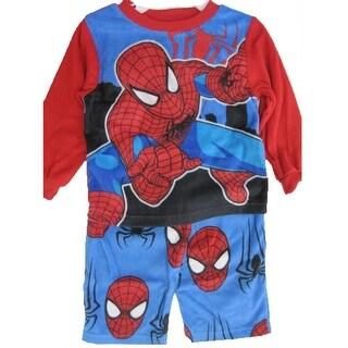 Marvel Little Boys Red Black Spiderman Superhero 2 Pc Pajama Set 2T-4T