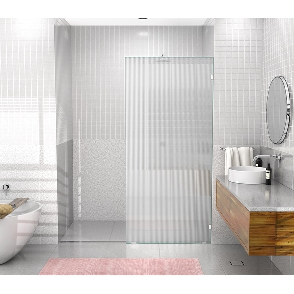 """Glass Warehouse 36"""" x 78"""" Frameless Shower Door - Single Fixed Panel Fluted Frosted. Opens flyout."""