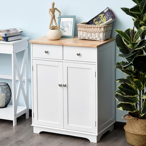 HOMCOM Space Saving Kitchen Buffet Sideboard Pantry with Functional Storage Cabinet with Adjustable Shelf for Kitchen, White